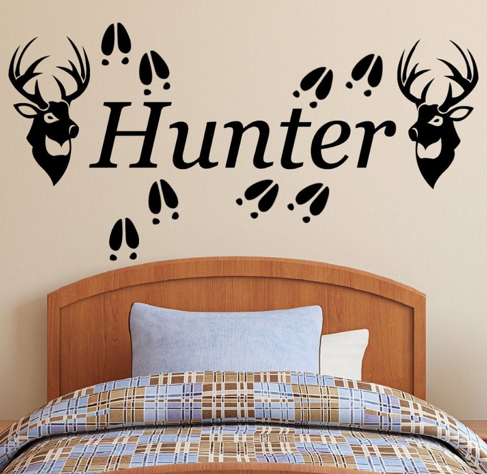 Personalized Name & Running Deer Wall Decal African Animal Wall Art Sticker Wild Animal Deer PVC Bedroom Wall Sticker Home Decor