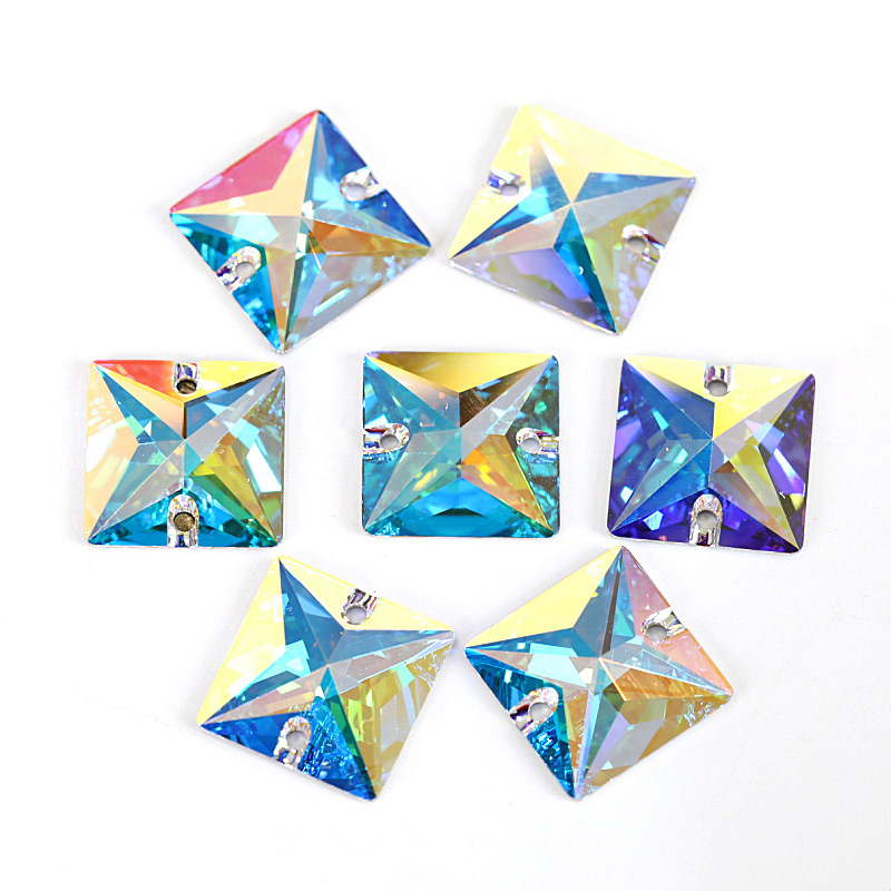 AAAAA Square Shape All Sizes Crystal AB Sew On Rhinestones Glass Flatback Sewing Crystal Stones For Wedding Dress F0074