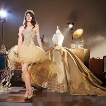 Elegant Gold Applique Ball Gown Prom Dresses With Detachable