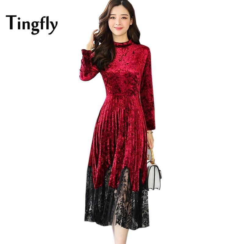 Tingfly 2017 New Autumn Winter Lace Patchwork Pleated Velvet Dress Women  Plus Size Red Velvet Slim Midi Party Dresses Vestidos 5707cea007e7