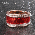 Luxury Red Enamel Plating Rose Gold Ring White Austria Crystal Bride Gift Wedding Engagement Rings Vintage Jewelry