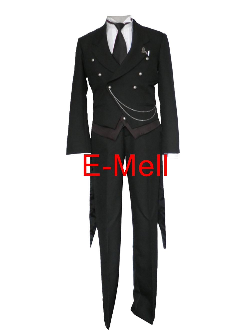 Black Butler Cosplay Sebastian Michaelis uniforms font b suit b font 1 generation swallow tailed coat