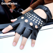 1 Pair Black PU Leather Fingerless Gloves Solid Female Half Finger Driving Women Fashion Punk Mittens 2019 New