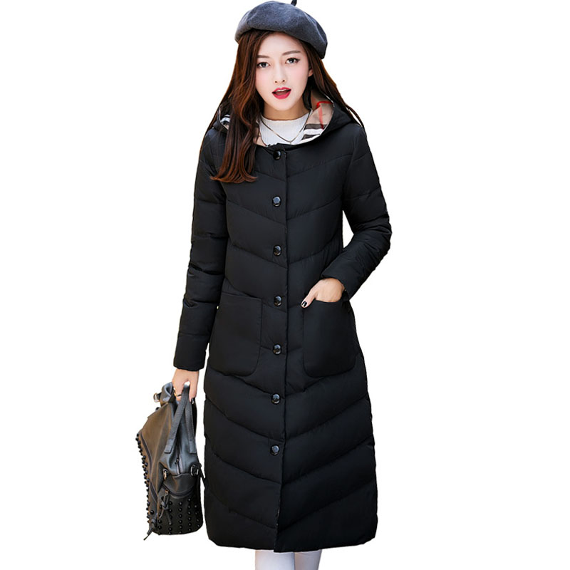 Winter Jackets 2017 New Women Slim Fashion Warm Wadded jacket Long sleeve Hooded Cotton-padded Plus size Long Coat Female 5L25