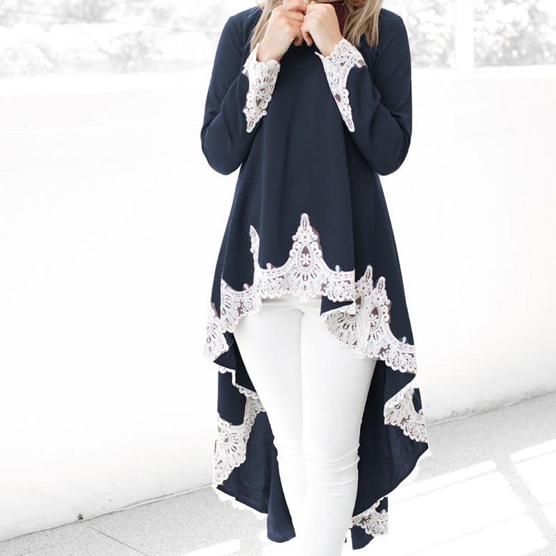 Feminine   Blouse     Shirt   Lace Ruffles Irregular Womens Tops and   Blouses   Spring Long Sleeve Fashion Woman   Blouses   2019 Top Female