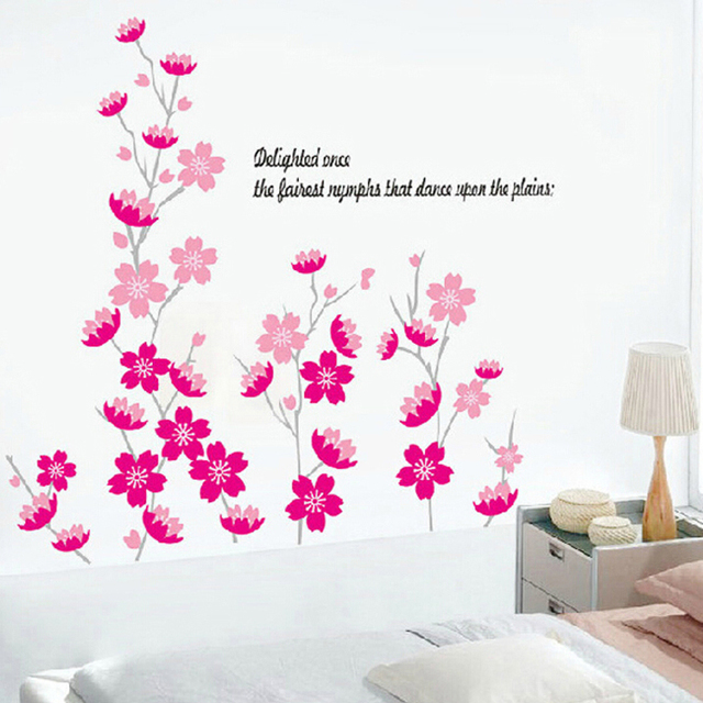 Cheap peach fragrance pattern wall stickers wedding room living room ...
