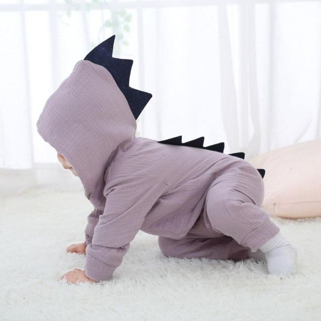 11b1fb229 Baby Rompers Warm Baby Clothes Winter Cartoon Dinosaur Hooded ...