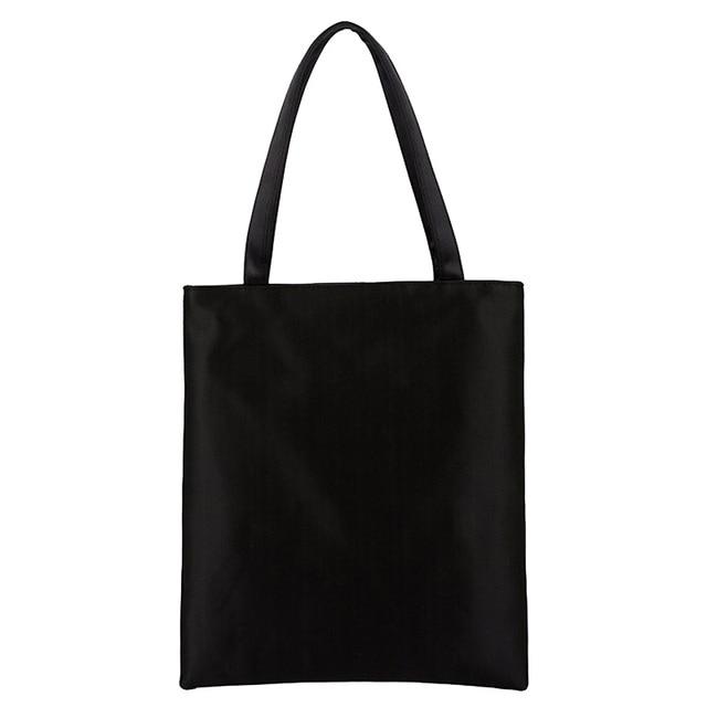 Fashion Plain Black White Women's Shoulder Bag High Quality Portable Blank Handbag Hot sale Leisure School Bag Shopping Bags