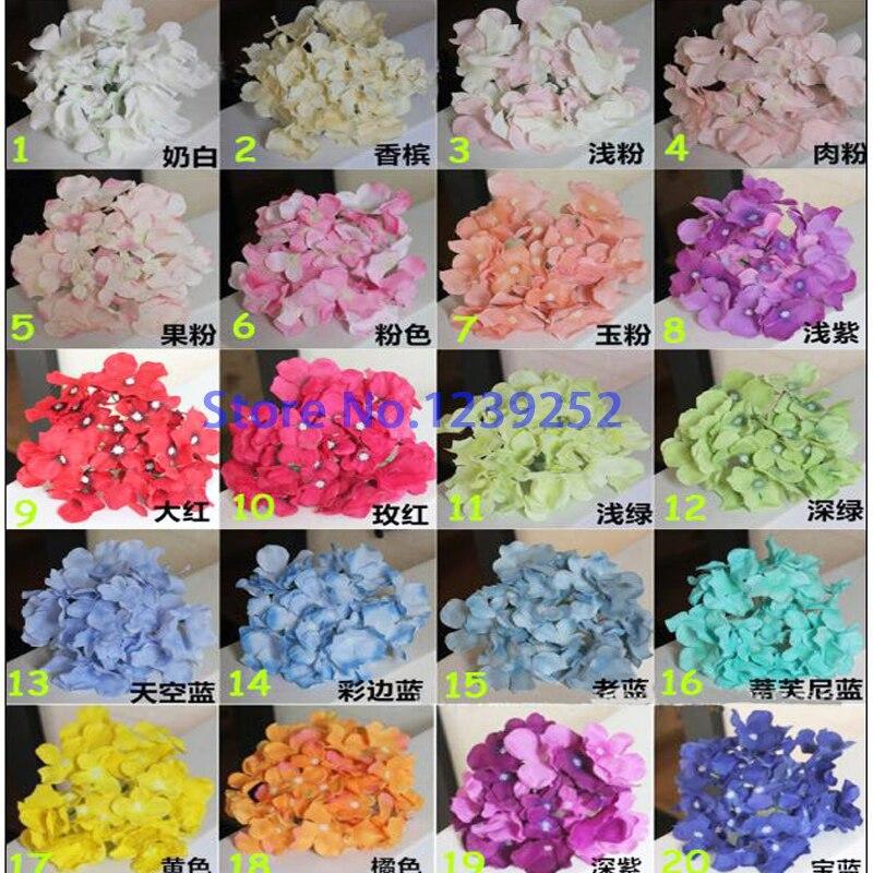 NUEVO 100 Unids / lote 15 cm Hortensias Artificiales Seda Flores - Para fiestas y celebraciones