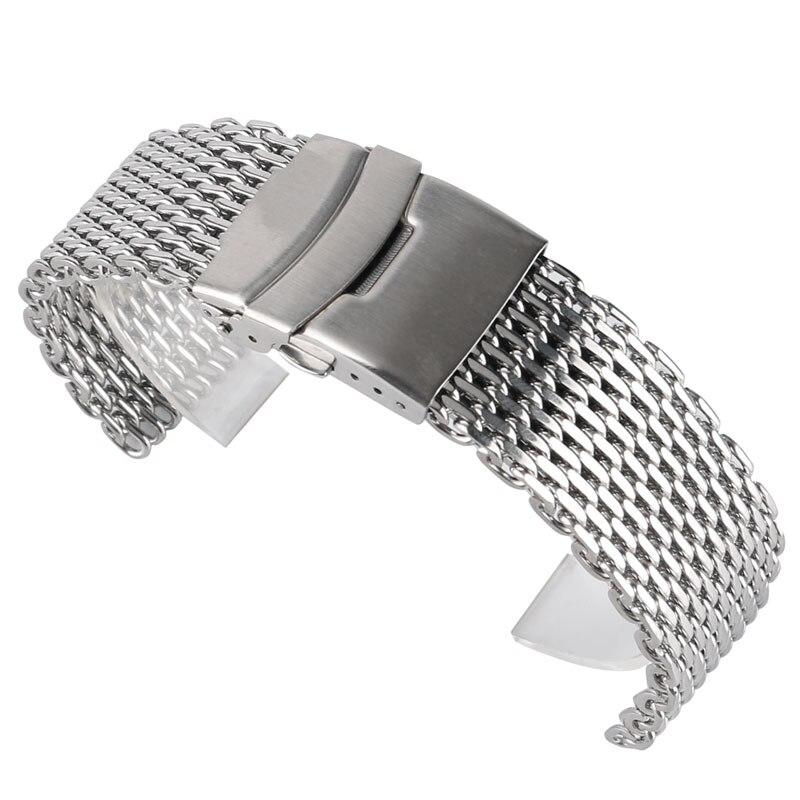 купить 18/20/22mm Watchband Luxury Cool Watches Mesh Stainless Steel Bracelet Silver Wristwatch Band Strap Replacement + 2 Spring Bars по цене 781.97 рублей