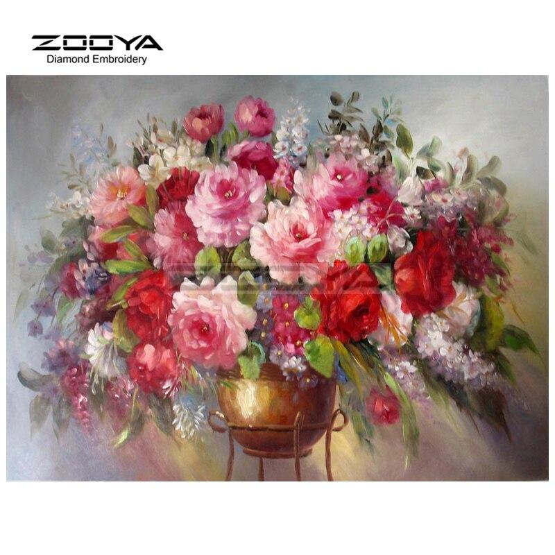 d4b57fd264506 5d Round drill DIY diamante pintura peonía florecimiento floral costura  completa Bordado moderna decoración del hogar cj38