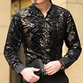 Personalidad de la moda camisa de estampado de leopardo de terciopelo de oro de calidad Nueva llegada Del Otoño y Del Invierno casual bussiness camisa boutique de los hombres S-XXXL