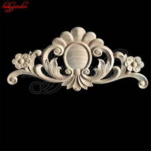 Unpainted Wood Carved Corner Onlay Applique Frame for Furniture Home Decoration Accessories Door Cabinet Figurines