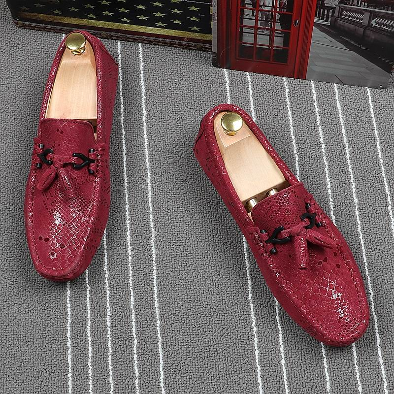 ERRFC Designer Red Loafer Shoes Men Round Toe Slip On Tassel Moccasin Shoes Man Snake Pattern