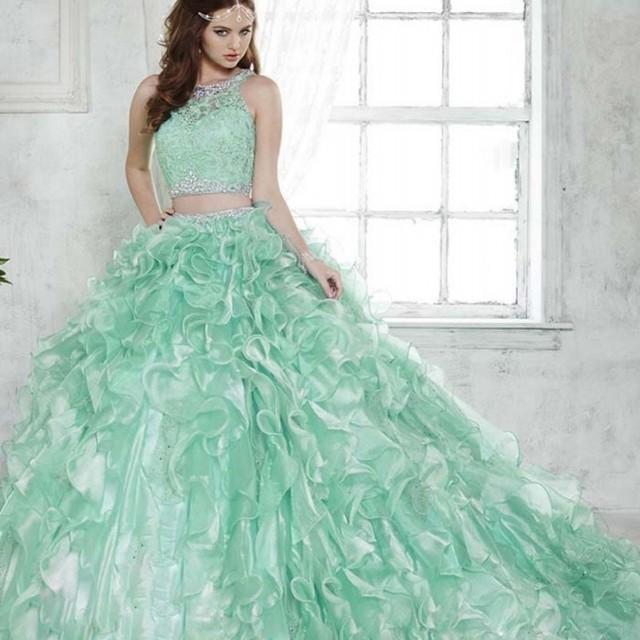 Hortelã Moda Verde 2 Peça Vestidos Quinceanera com Trem Removível Lace Illusion Beading Blusa Dois Em Um Vestido de Debutante 2016