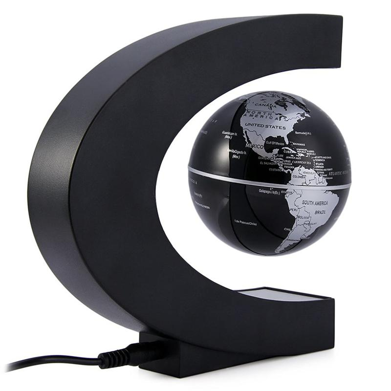 LED C Shape World Map Floating Globe Magnetic Levitation Light Antigravity Magic/Novel Light Xmas Birthday Gift Home Decor magnetic floating levitation 3d print moon lamp led night light 2 color auto change moon light home decor creative birthday gift