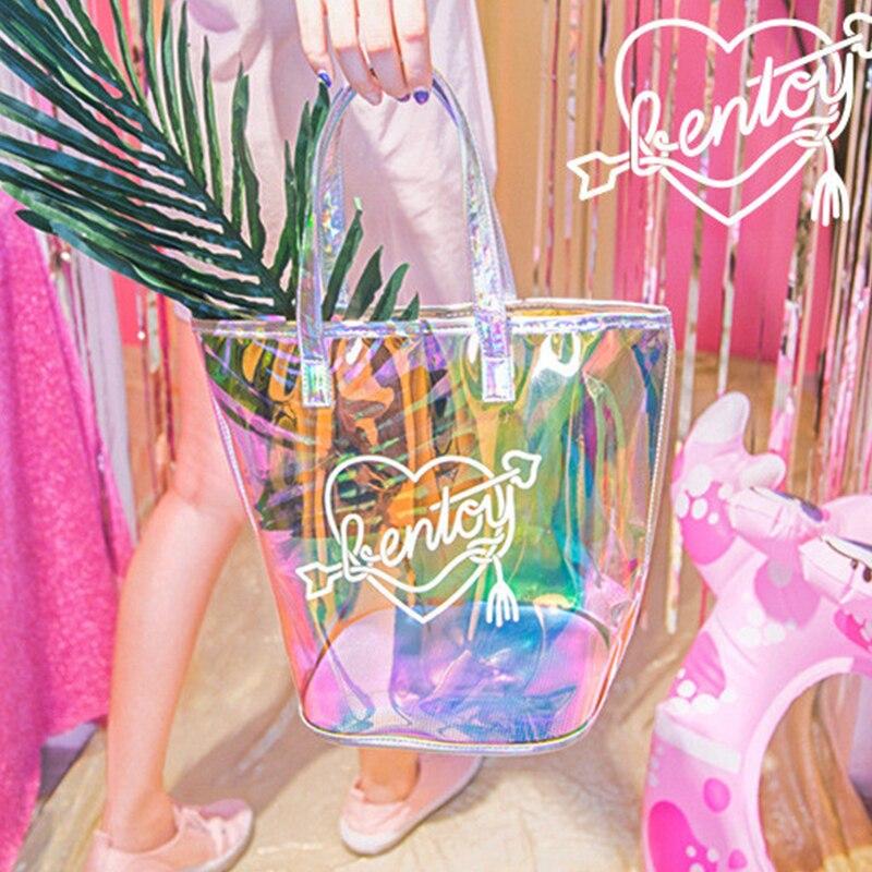 Mode Frauen Laser Holographische Tote Handtasche Casual Sommer Strand Schulter Tasche Für Mädchen Große Kapazität Reise Einkaufen Handtaschen