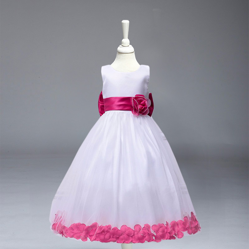 Retail Baby Girl Flower Dress Girl Party Long Dresses Princess Children dress Free Shipping LP56 retail 2016 girl dress gauze princess dress party dress children performing dress 2 12y 303