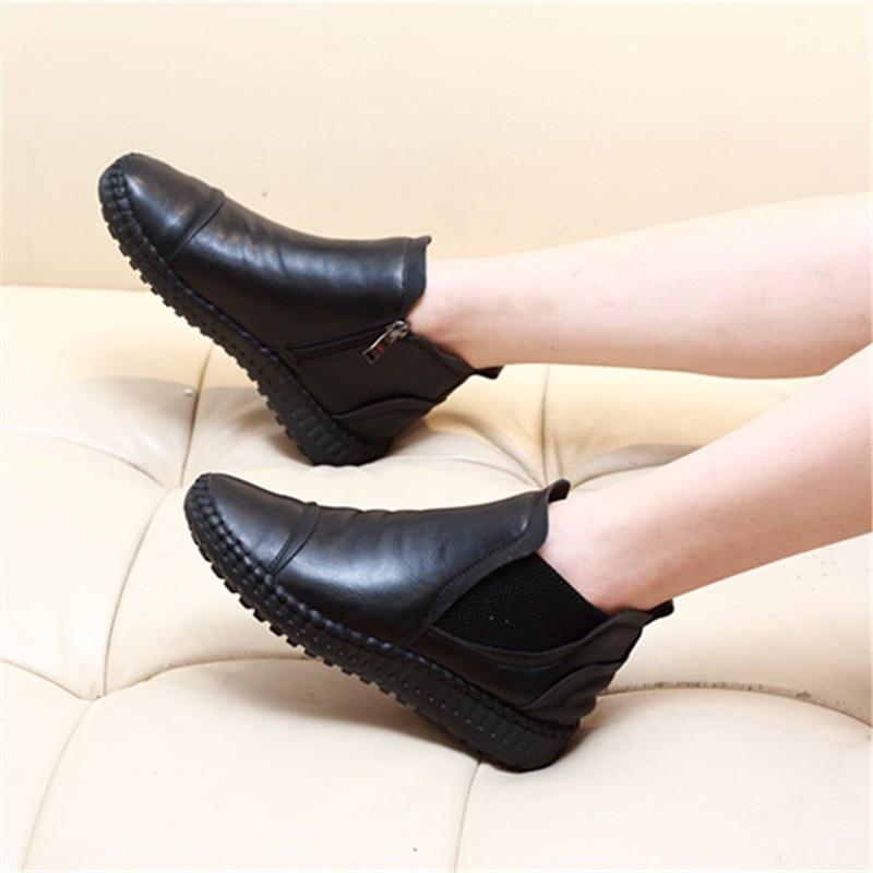 Plaine En 2 Nouveau Automne Zipper D'hiver Chaussures Cuir Et 1 Femmes Plat 2018 w7YIqAg