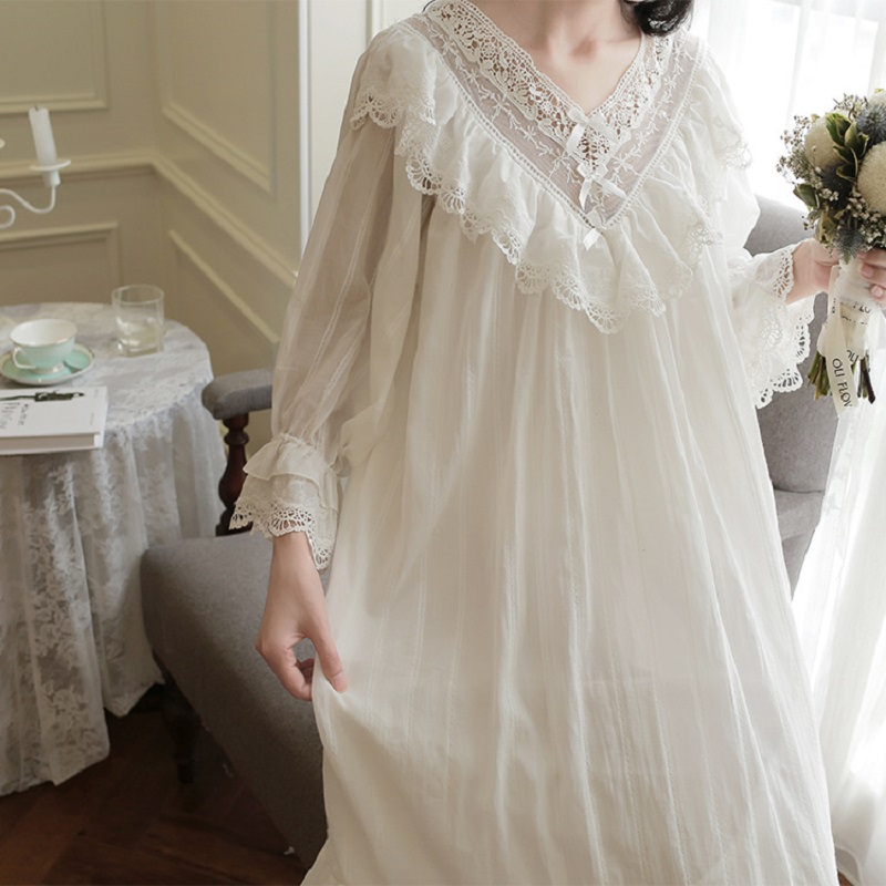 White Cotton Emoidered Women's Long Nightgowns Long Sleeve Lace Sleepwear Elegant Female Vintage Night Dress Home Wear 2218