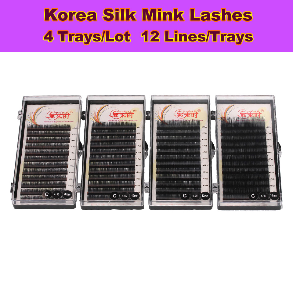 4 cazuri Extensie individuală pentru genelor Eye Lashes Genele false Mink Genes Natural Russian Volume Lash Extension Supplies