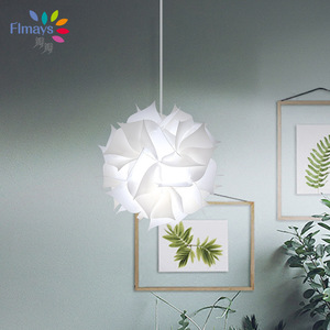 Image 3 - נורדי פרח מודרני DIY אלמנטים IQ פאזל ZE מנורת תקרת נברשת תליון מנורת כדור אור תאורת 30.5cm