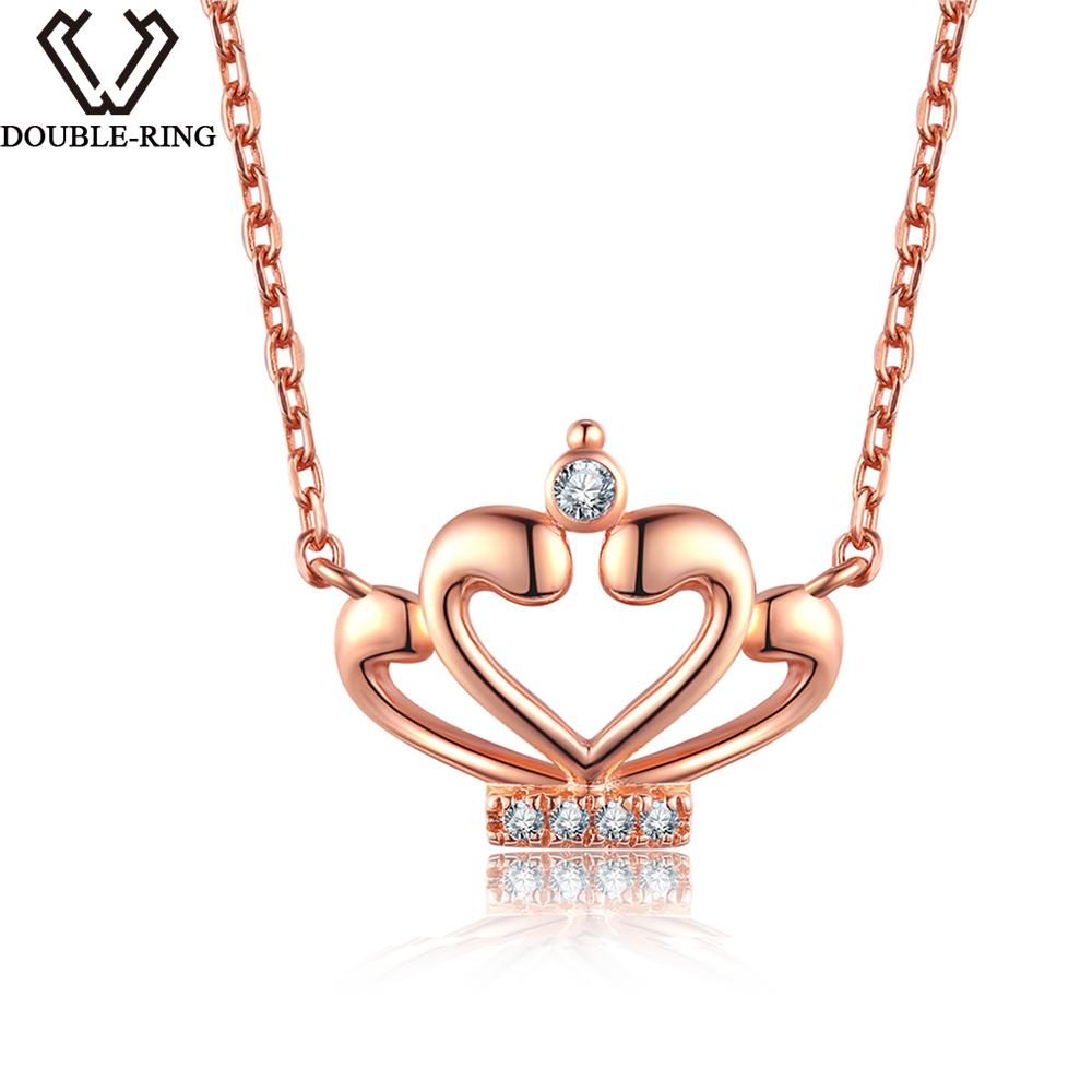DOUBLE-R 0.03ct Natural Diamond Necklace female