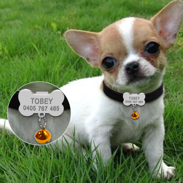 Personalized Dog Collars Custom Chihuahua Puppy Cat Collar Bone ID Tags Engraved For Small Medium Dogs Free Gift Bell  XS S