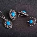 Conjuntos de Jóias Vintage Turquesa Colares & Brincos & Rings Oval Forma Pingentes de Prata Antigo Brincos Anel Mulheres conjuntos de joias