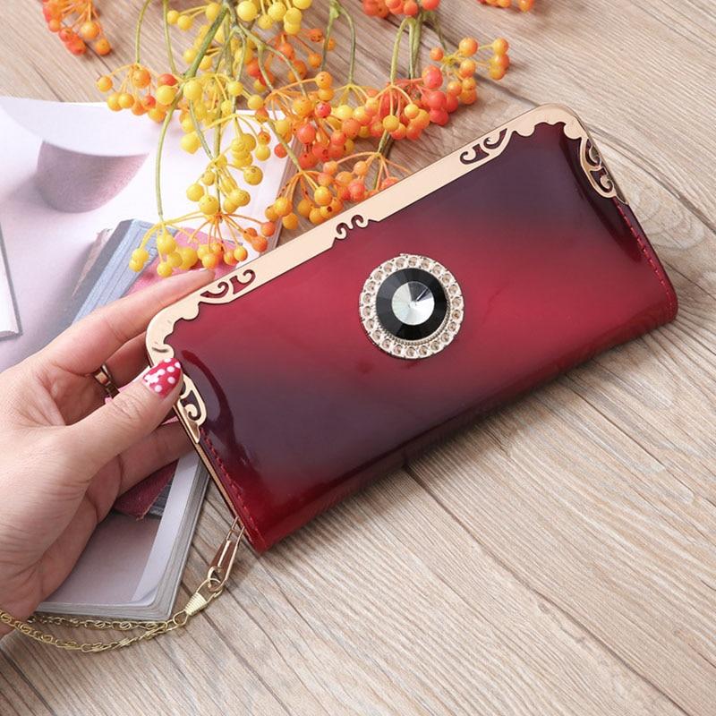 2019 Luxury Crown Wallet Women Leather Long Phone Pocket Ladies Clutch Purse Handbags Women Wallets Money Chain Evening Bag W042