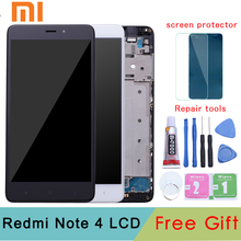 цена на For Xiaomi Redmi Note 4 MediaTek LCD Display Frame Complete Touch Screen Panel Redmi note4 Note 4 MTK LCD Digitizer Spare Parts