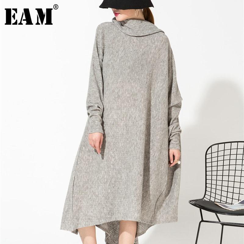 EAM 2018 New Autumn Gray Asymmetrical Collar Irregular Hem Loose Long Big Size Kitting Dress