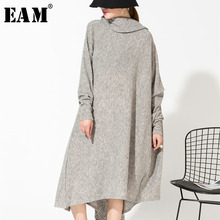 EAM 2019 New Spring Gray Asymmetrical Collar Irregular Hem Dress Women Fashion Tide