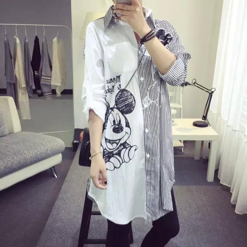 Harajuku Style 2019 New Fashion Spring Cartoon Print Sequined Striped Tops Loose Casual Cloth Women Shirt Long Sleeve Tops