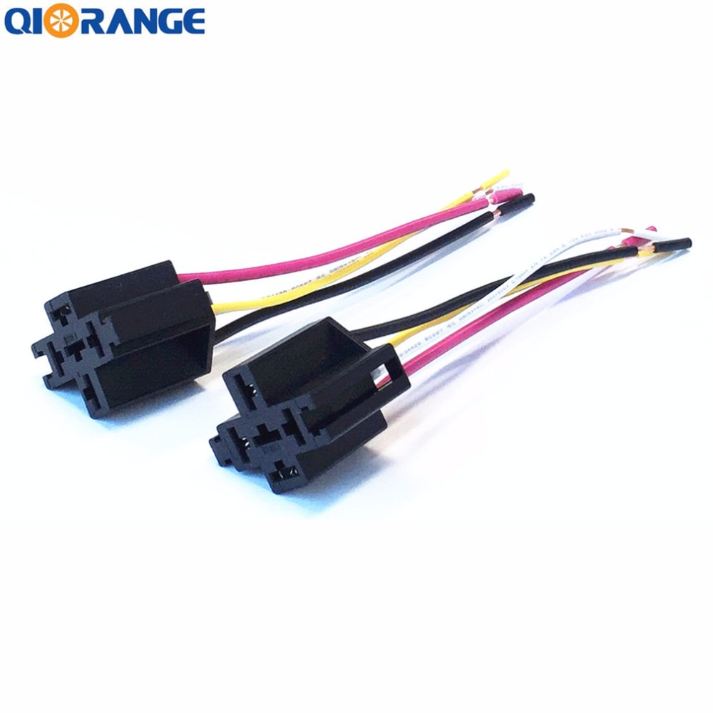 Qiorange 2 Pack 30a Fuse Relay Switch Harness Set 12v Dc 4 Pin Spst Automotive Wire Relays 14 Awg Wires 4pin 2set In Car Switches From