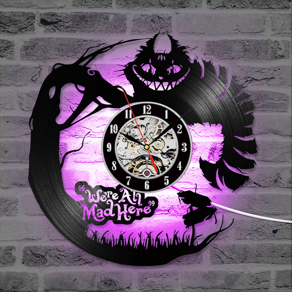 Reloj de vinilo 3D de dibujos animados Alicia en el país de las Maravillas reloj LED creativo CD registro reloj antiguo Nuevo diseño reloj colgante decoración para el hogar