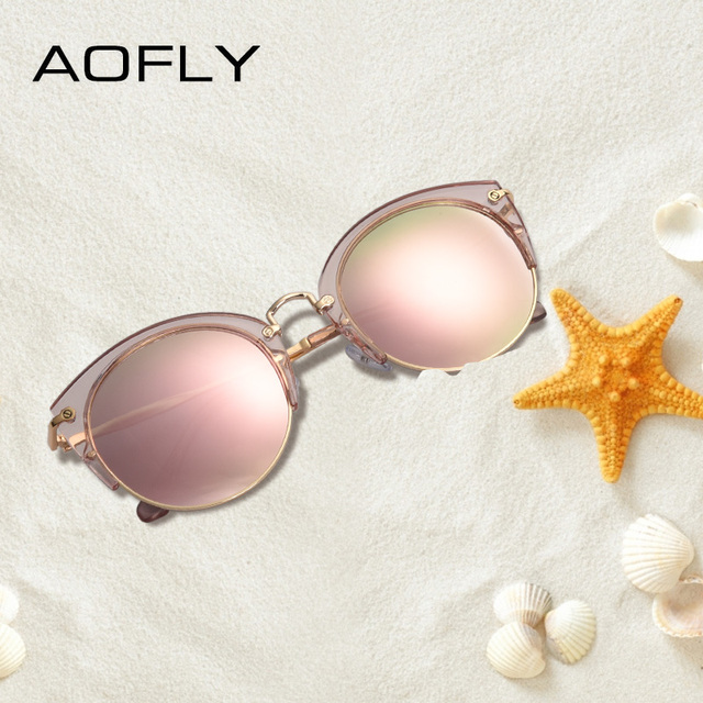 AOFLY Fashion Polarized Sunglasses Women Brand Designer Vintage Retro Cat Eye Sunglasses Female Half Frame Style Glasses A121 1