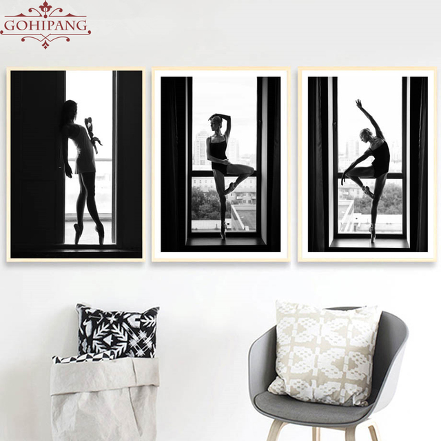 Gohipang Nordic Black White Ballerina Landscape Wall Art Canvas ...
