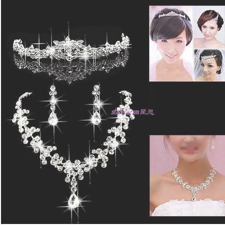 A064-3 Тиара Посеребренные Crystal Choker Ожерелье серьги Комплектов Ювелирных Изделий Для Свадьбы Вечеринка B31