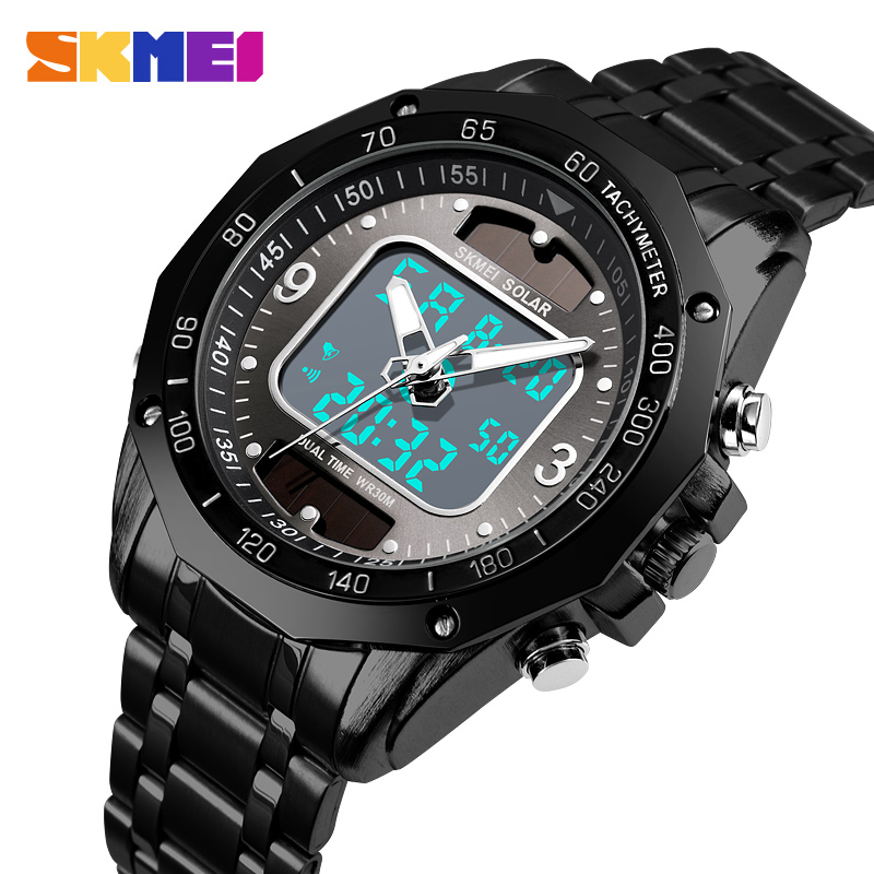 Children's Watches Skmei Solar Panels Watch Swim 50m Waterproof Mens Watches Double Display Quartz And Electronics Luxury High Quality Men Clock G