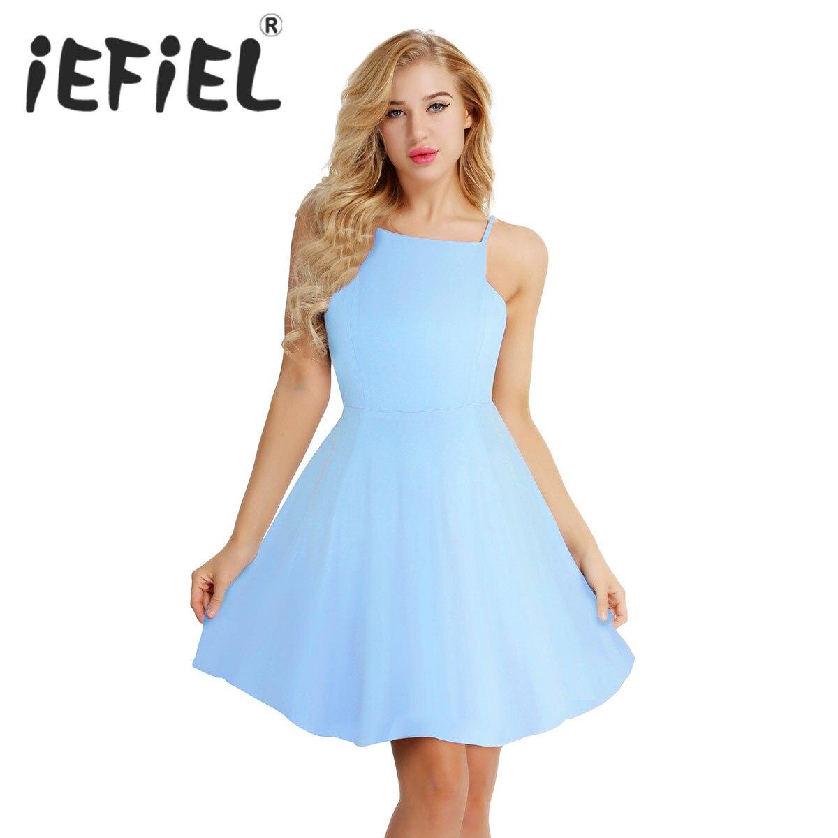 iEFiEL Elegant Sleeveless Bridesmaid Women Ladies Summer Dresses Chiffon Wedding Party Formal Knee Length Prom Pageant Dress