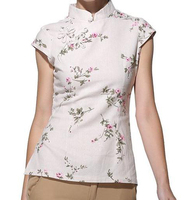 High Quality Beige Women Elegant Flower Shirt Chinese Vintage Cotton Linen Blouse Summer Tang Suit Top