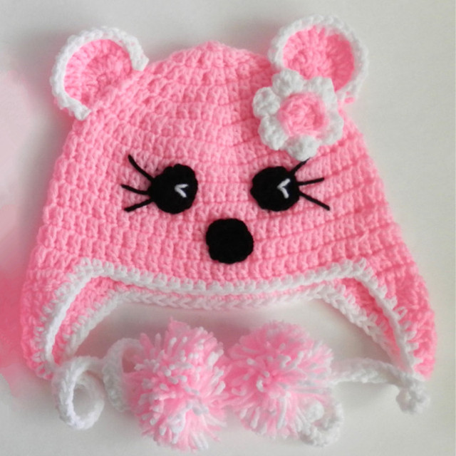 27d1bb4af20 Lovely Pink Kitty Cat Earflap Hat