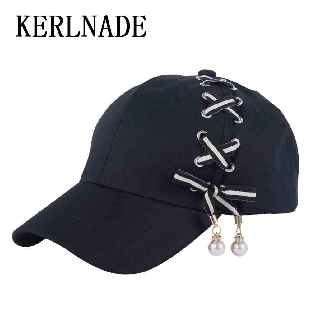 Clever Neue Design Frauen Hut Nette Kappe Handgemachte Band Birne Perlen Design Solid Black Einstellbare Größe Weibliche Mädchen Neuheit Baseball Caps