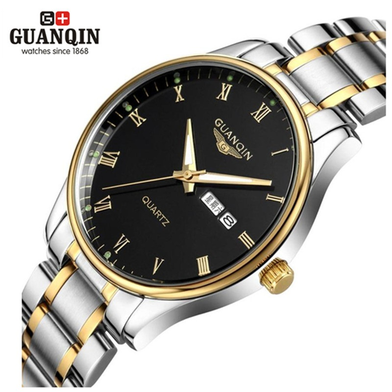 Fashion Men's Watch Luxury Brand GUANQIN Quartz Watch Waterproof Sports Auto Date Steel Wristwatches Relogio Masculino Reloj