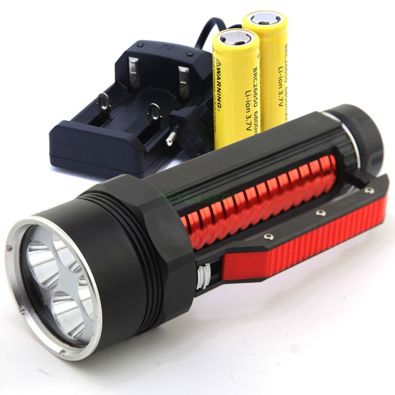 4* CREE XM-L2 LED 3800 Lumens Super Bright Flashlight for diving,hiking,camping Waterproof Lantern lamp &2*26650 Battery&Charger flashlight led cree xm l2 light 3800 lumens 26650 battery outdoor camping telescopic zoom self defense powerful led flashlight
