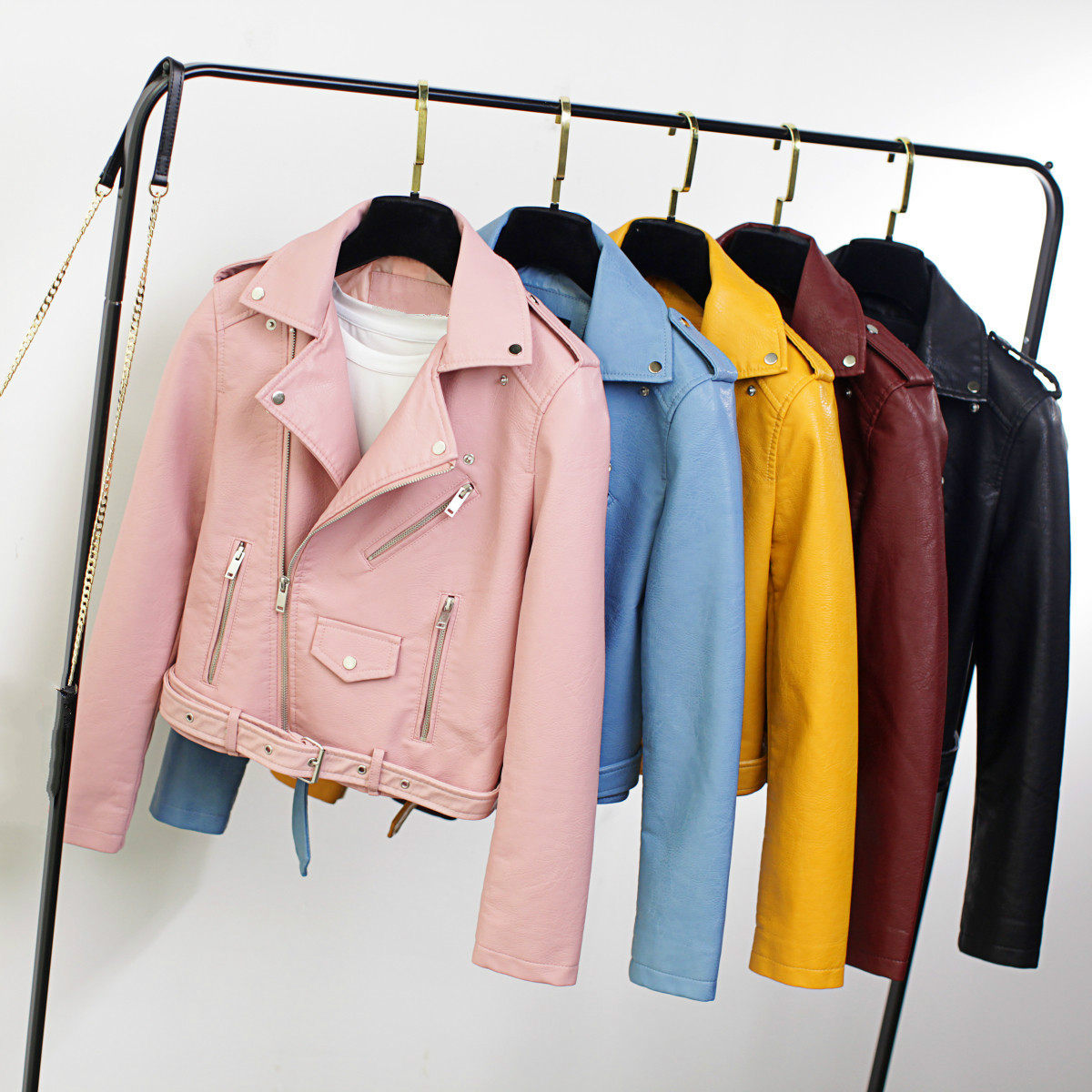 Spring Women Faux   Leather   Moto Jacket Short Motorcycle Pu Jacket with Belt Cute Ladies Coat Female Streetwear Girls Outerwear