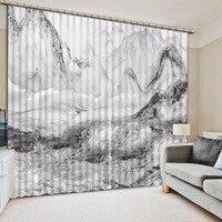 흑백 커튼 3d 산 대리석 디자인 거실 용 블랙 아웃 커튼 침실 사진 인쇄 커튼