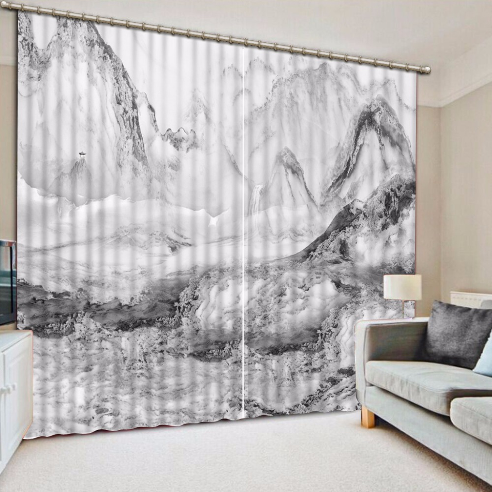 Black And White Curtains 3D Mountain Marble Design
