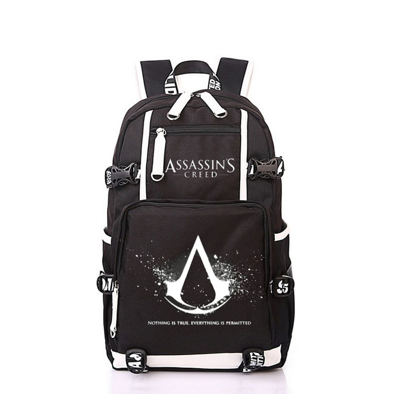Women Men Anime Black Flag Assassin's Creed Backpack Rucksack Mochila Schoolbag Bag For School Boys Girls Student Travel anime cartoon tokyo ghoul cosplay backpack schoolbag one piece gintama school bag rucksack men s women s naruto travel bag